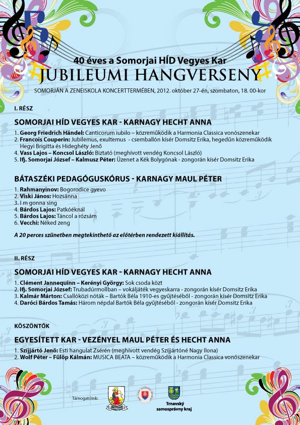 A Somorjai HÍD Vegyes Kar jubileumi hangversenyének plakátja