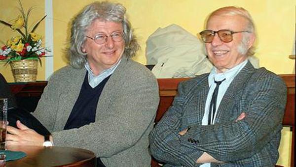 Tőzsér Árpád 75. születésnapjáén Esterházy Péterrel. Fotó: © Kövesdi Károly