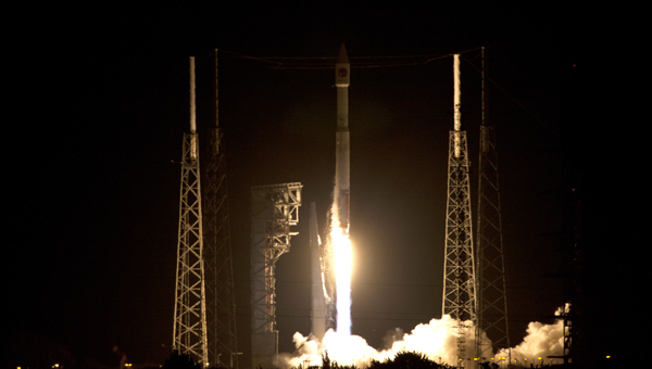 Cygnus Orbital ATK OA-6 on a ULA Atlas V Rocket launches from Pad 41 at Cape Canaveral Air Force Station (CCAFS).
