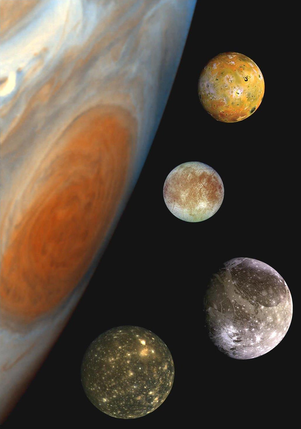 Galilei-holdak (felülről lefelé haladva): Io, Europa, Ganimédesz és a Callisto (a kép a holdak nagyságát illusztrálja)